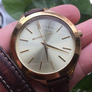 Michael Kors double wrap watch brown and gold